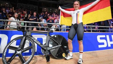 <p>               Emma Hinze from Germany celebrates winning the Women's sprint final during the Cycling World Championship in Berlin, Germany, Friday Feb. 28, 2020. (Sebastian Gollnow/dpa via AP)             </p>