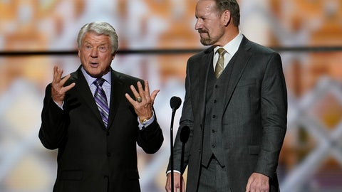 <p>               Former coaches, Jimmie Johnson, left, and Bill Cowher making introductions at the NFL Honors football award show Saturday, Feb. 1, 2020, in Miami. (AP Photo/David J. Phillip)             </p>