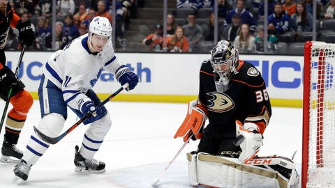 <p>               Anaheim Ducks goaltender John Gibson, right, stops a shot in front of Toronto Maple Leafs' Zach Hyman during the first period of an NHL hockey game Friday, March 6, 2020, in Anaheim, Calif. (AP Photo/Marcio Jose Sanchez)             </p>