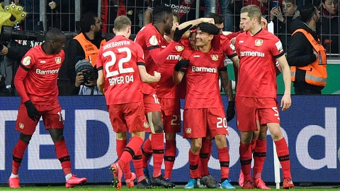 <p>               Leverkusen's Charles Aranguiz is celebrated after scoring his side's second goal during the German soccer cup, DFB Pokal, quarter-final match between Bayer Leverkusen and Union Berlin in Leverkusen, Germany, Wednesday, March 4, 2020. (AP Photo/Martin Meissner)             </p>