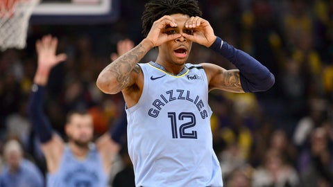 <p>               Memphis Grizzlies guard Ja Morant (12) reacts after an assist to center Jonas Valanciunas (17) in the second half of an NBA basketball game against the Los Angeles Lakers, Saturday, Feb. 29, 2020, in Memphis, Tenn. (AP Photo/Brandon Dill)             </p>