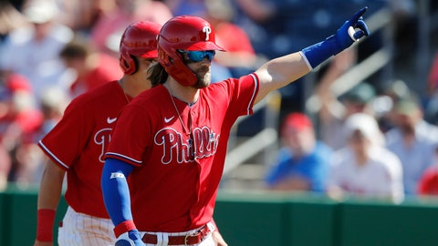 <p>               Philadelphia Phillies' Bryce Harper waves to fans after his two-run home run during the fourth inning of a spring training baseball game against the Pittsburgh Pirates, Wednesday, March 4, 2020, in Clearwater, Fla. (AP Photo/Carlos Osorio)             </p>