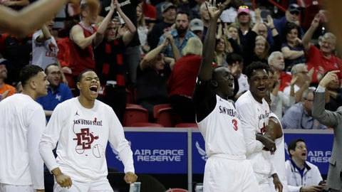 <p>               The San Diego State bench reacts after a 3-point shot against Air Force during the second half of a Mountain West Conference tournament NCAA college basketball game Thursday, March 5, 2020, in Las Vegas. San Diego State won 73-60. (AP Photo/Isaac Brekken)             </p>