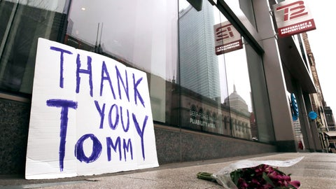 <p>               A bouquet of flowers and a sign thanking former New England Patriots quarterback Tom Brady, who announced he was leaving the football team, rest on the sidewalk outside the TB12 training center in Boston, Tuesday, March 17, 2020. (AP Photo/Charles Krupa)             </p>