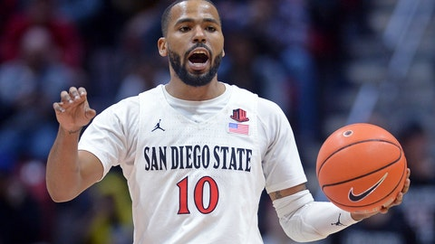 <p>               FILE - In this Dec. 28, 2019, file photo, San Diego State guard KJ Feagin gestures as he dribbles the ball during the second half of an NCAA college basketball game against Cal Poly in San Diego. It's almost like coach Brian Dutcher and the San Diego State Aztecs won the lottery. Tired of losing at their old schools, big man Yanni Wetzell and guards Malachi Flynn and Feagin transferred to San Diego State after being lured by the prospect of winning and going to the NCAA Tournament. And boy, have they ever won, to the point that they've matched some accomplishments by the breakthrough 2010-11 team led by the most famous player in program history, Kawhi Leonard. (AP Photo/Orlando Ramirez, File)             </p>
