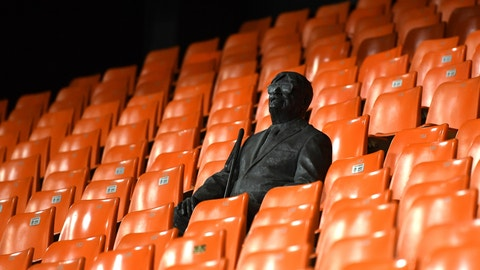 <p>               A statue representing a former fan is pictured ahead of the Champions League round of 16 second leg soccer match between Valencia and Atalanta in Valencia, Spain, Tuesday March 10, 2020. The match is being in an empty stadium because of the coronavirus outbreak. (UEFA via AP)             </p>