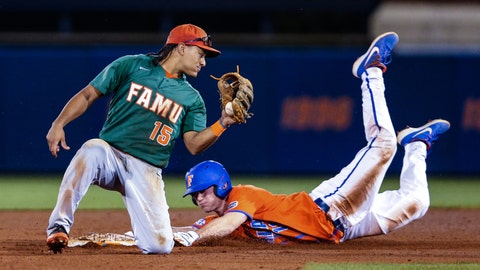 <p>               FILE - In this March 4, 2020, file photo, Florida's Brock Edge, right, steals second base, beating the tag by Florida A&M infielder Octavien Moyer (15), during the eighth inning of an NCAA college baseball game in Gainesville, Fla. The NCAA is planning on extending the eligibility of athletes on spring sports teams one year to make up for the season lost to the new coronavirus. The details of how this will work are still being ironed out. (AP Photo/Gary McCullough, File)             </p>