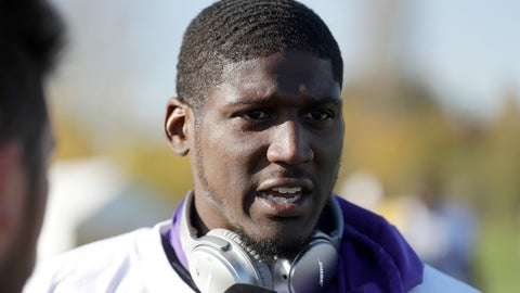<p>               FILE - In this Oct. 27, 2017, file photo, Minnesota Vikings cornerback Xavier Rhodes speaks to the media after taking part in an NFL training session at the London Irish rugby team training ground in the Sunbury-on Thames suburb of south west London. The salary-cap-strapped Minnesota Vikings have terminated the contracts of two long-time starters: nose tackle Linval Joseph and cornerback Xavier Rhodes. The move will clear more than $18.5 million off the team's salary cap. (AP Photo/Matt Dunham, File)             </p>