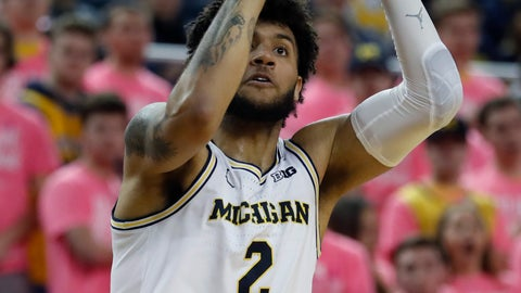 <p>               Michigan forward Isaiah Livers shoots during the second half of the team's NCAA college basketball game against Wisconsin, Thursday, Feb. 27, 2020, in Ann Arbor, Mich. (AP Photo/Carlos Osorio)             </p>