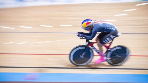 <p>               Chloe Dygert of the United States competes during the qualification race during the Cycling World Championship in Berlin, Germany, Saturday, Feb. 29, 2020. (Sebastian Gollnow/dpa via AP)             </p>