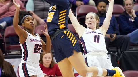 <p>               UNC Greensboro Nadine Soliman (35) drives the ball to the basket between Samford Raven Omar (22) and Paige Serup (11) in the first half of an NCAA women's college basketball game for the Southern Conference championship tournament, Sunday, March 8, 2020, in Asheville, N.C. (AP Photo/Kathy Kmonicek)             </p>