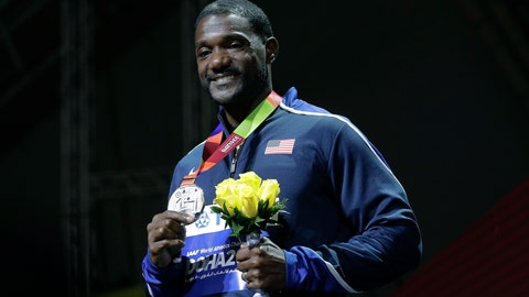 <p>               FILE - In this Sept. 29, 2019, file photo, silver medal winner Justin Gatlin, of the United States, smiles during the medal ceremony for the men's 100m event at the World Athletics Championships in Doha, Qatar. Gatlin and Jamaican Asafa Powell may be late 30-something sprinters but they feel as youthful as ever. There's no retirement talk even with the Tokyo Games delayed for a year due to the coronavirus. (AP Photo/Nariman El-Mofty, File)             </p>