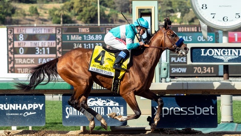 <p>               In this image provided by Benoit Photo, Authentic, with Drayden Van Dyke aboard, wins the Grade II, $400,000 San Felipe Stakes horse race Saturday, March 7, 2020, at Santa Anita Park in Arcadia, Calif. (Benoit Photo via AP)             </p>