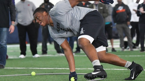<p>               Defensive tackle Derrick Brown runs through defensive drills during Auburn NCAA college football Pro Day, Friday, March 6, 2020, in Auburn, Ala. (AP Photo/Julie Bennett)             </p>