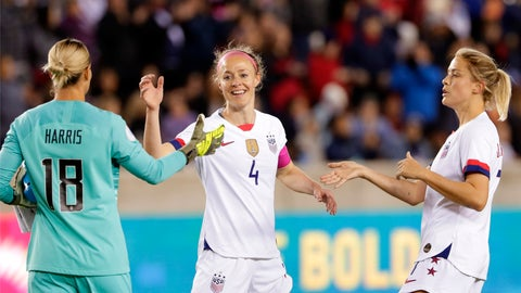 <p>               U.S. goalkeeper Ashlyn Harris (18), defender Becky Sauerbrunn (4) and defender Abby Dahlkemper, right, celebrate the team's 8-0 win over Panama in a CONCACAF women's Olympic qualifying soccer match Friday, Jan. 31, 2020, in Houston. (AP Photo/Michael Wyke)             </p>