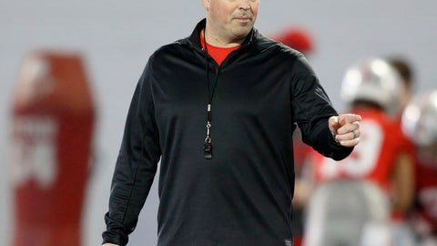<p>               FILE - In this March 6, 2019, file photo, Ohio State University football coach Ryan Day gestures during an NCAA college football practice in Columbus, Ohio. Ohio State's spring practice likely will begin a competition to determine who will be the Buckeyes' starting quarterback in 2021. The contenders are highly touted freshmen Jack Miller or C.J. Stroud, both of whom were early enrollees and have been on campus since the beginning of the year. (AP Photo/Paul Vernon, File)             </p>