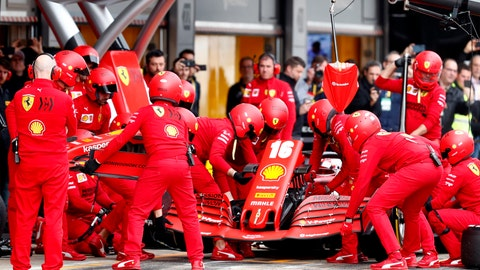 <p>               Pit crew work on the car of Ferrari driver Charles Leclerc of Monaco during the Formula One pre-season testing session at the Barcelona Catalunya racetrack in Montmelo, outside Barcelona, Spain, Friday, Feb. 28, 2020. (AP Photo/Joan Monfort)             </p>