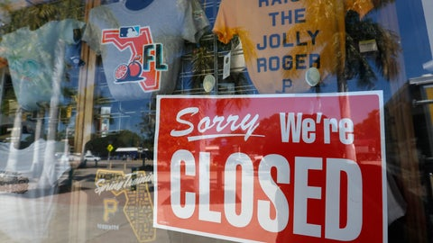<p>               A closed sign is displayed on the Pittsburgh Pirates spring training baseball gift shop at LECOM Park, Monday, March 16, 2020, in Bradenton, Fla. Major League Baseball has delayed the start of its season by at least two weeks because of the coronavirus outbreak and suspended the rest of its spring training schedule. (AP Photo/Carlos Osorio)             </p>