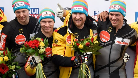 <p>               Team Francesco Friedrich, Candy Bauer, Martin Grothkopp and Alexander Schueller of Germany celebrate after winning the four-man bobsled race at the Bobsleigh and Skeleton World Championships in Altenberg, eastern Germany, Sunday, March 1, 2020. (AP Photo/Jens Meyer)             </p>