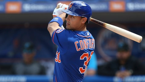 <p>               FILE - In this Feb. 22, 2020, file photo, New York Mets' Michael Conforto bats during a spring training baseball game against the Miami Marlins in Port St. Lucie, Fla. Mets outfielder Michael Conforto was scheduled to be examined by a doctor in New York after tweaking his side while making a catch in a recent spring training game. The slugger had an MRI in Florida but left camp and was sent to New York on Monday night, March 9, 2020, to meet with the team's medical director, Dr. David Altchek, for further evaluation, the Mets said.(AP Photo/Vera Nieuwenhuis, File)             </p>