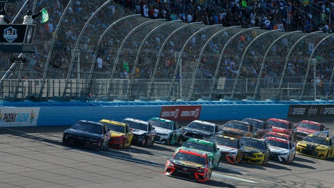<p>               Martin Truex Jr. (19) leads the field through Turn 4 on a restart during the NASCAR Cup Series auto race at Phoenix Raceway, Sunday, March 8, 2020, in Avondale, Ariz. (AP Photo/Ralph Freso)             </p>