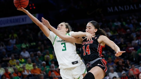 <p>               Utah's Niyah Becker (14) fouls Oregon's Taylor Chavez (3) during the second half of an NCAA college basketball game in the quarterfinal round of the Pac-12 women's tournament Friday, March 6, 2020, in Las Vegas. (AP Photo/John Locher)             </p>