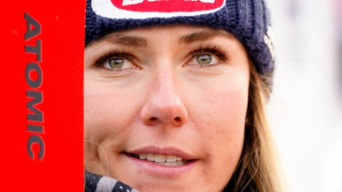 <p>               United States' Mikaela Shiffrin stands in the fish Rea after winning an alpine ski, women's World Cup super-G, in Bansko, Bulgaria, Sunday, Jan. 26, 2020. (AP Photo/Giovanni Auletta)             </p>