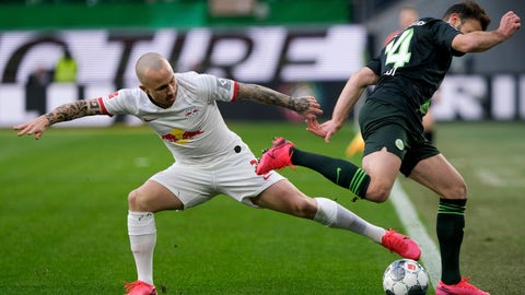 <p>               Leipzig's Angelino, left, and Wolfsburg's Admir Mehmedi, right, challenge for the ball during the German Bundesliga soccer match between VfL Wolfsburg and RB Leipzig in Wolfsburg, Germany, Saturday, March 7, 2020. (Peter Steffen/dpa via AP)             </p>