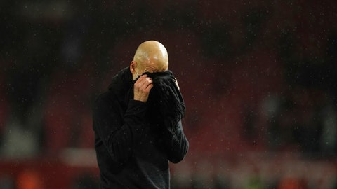 <p>               Manchester City's head coach Pep Guardiola reacts after the English Premier League soccer match between Manchester United and Manchester City at Old Trafford in Manchester, England, Sunday, March 8, 2020. (AP Photo/Dave Thompson)             </p>