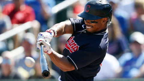 <p>               Cleveland Indians' Francisco Lindor connects for a home run against the Chicago Cubs during the first inning of a spring training baseball game Saturday, March 7, 2020, in Goodyear, Ariz. (AP Photo/Ross D. Franklin)             </p>