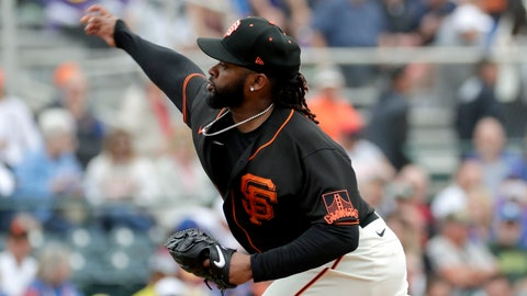 <p>               San Francisco Giants pitcher Johnny Cueto throws against the Chicago Cubs during the first inning of a spring training baseball game Tuesday, March 10, 2020, in Scottsdale, Ariz. (AP Photo/Matt York)             </p>