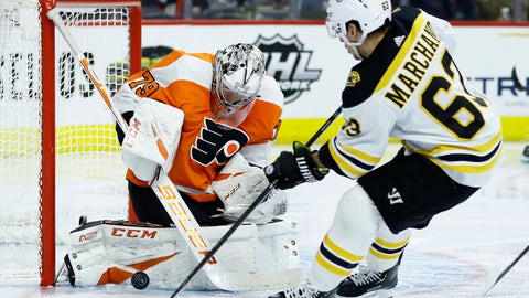 <p>               Philadelphia Flyers' Carter Hart, left, blocks a shot by Boston Bruins' Brad Marchand during the third period of an NHL hockey game, Tuesday, March 10, 2020, in Philadelphia. Boston won 2-0. (AP Photo/Matt Slocum)             </p>