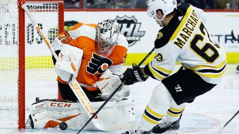 <p>               Philadelphia Flyers' Carter Hart, left, blocks a shot by Boston Bruins' Brad Marchand during the third period of an NHL hockey game, Tuesday, March 10, 2020, in Philadelphia. Boston won 2-0. (AP Photo/Matt Slocum)             </p>