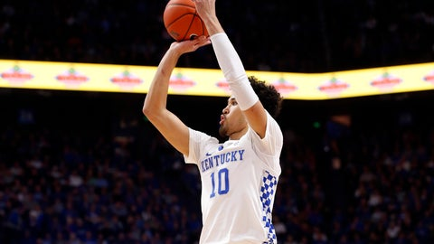 <p>               Kentucky's Johnny Juzang (10) takes an uncontested shot during an NCAA college basketball game against Georgia in Lexington, Ky., Tuesday, Jan 21, 2020. (AP Photo/James Crisp)             </p>