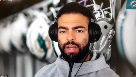 <p>               Miami Dolphins NFL football player Kyle Van Roy is shown during a Zoom news conference in this photo made in Miami Lakes, Fla., Thursday, March 26, 2020. The Miami Dolphins practiced safe distancing when they introduced eight newly acquired players hunkered down around the country, holding a series of news conferences via Zoom. The technology changed the dynamics of the conversation, and players seemed to like it. (AP Photo/Steve Wine)             </p>