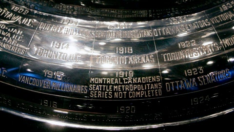 "<p>               FILE - In this Feb. 4, 2005, file photo, the inscription on the Stanley Cup showing the 1919 series, the only series in the history of the cup not completed, is shown at the Hockey Hall of Fame in Toronto. Anyone who scoffs at drastic measures to deal with the coronavirus outbreak, who wonders if it was really necessary to shut down sports around the world, needs to learn the tragic story of the 1919 Stanley Cup Finals. It's right there on the silver chalice, engraved alongside all the championship teams. ""Series not completed."" (Adrian Wyld/The Canadian Press via AP             </p>"