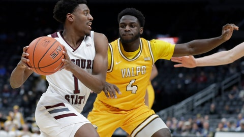 <p>               Missouri State's Keandre Cook (1) heads to the basket past Valparaiso's Daniel Sackey (4) during the second half of an NCAA college basketball game in the semifinal round of the Missouri Valley Conference men's tournament Saturday, March 7, 2020, in St. Louis. (AP Photo/Jeff Roberson)             </p>