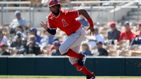 <p>               Los Angeles Angels' Jo Adell runs towards second base before getting out on a force out by Brian Goodwin during the first inning of a spring training baseball game against the Los Angeles Dodgers, Wednesday, Feb. 26, 2020, in Glendale, Ariz. (AP Photo/Gregory Bull)             </p>
