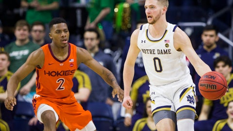 <p>               Notre Dame's Rex Pflueger (0) looks to pass around Virginia Tech's Landers Nolley II (2) during the first half of an NCAA college basketball game Saturday, March 7, 2020, in South Bend, Ind. (AP Photo/Robert Franklin)             </p>