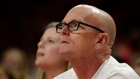 <p>               Sports broadcaster Scott Van Pelt watches a shot by Ohio State during the first half of an NCAA college basketball game against Maryland, Tuesday, Jan. 7, 2020, in College Park, Md. (AP Photo/Julio Cortez)             </p>