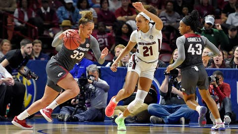 <p>               Arkansas Chelsea Dungee (33) drives against South Carolina's Mikiah Herbert-Harrigan during a semifinal match at the Southeastern conference women's NCAA college basketball tournament in Greenville, S.C., Saturday, March 7, 2020. (AP Photo/Richard Shiro)             </p>