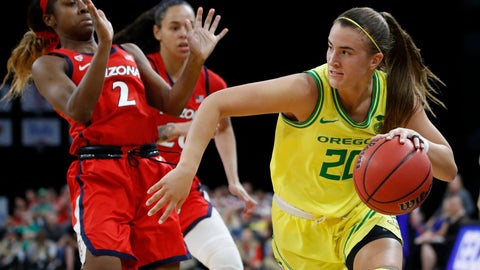 <p>               Oregon's Sabrina Ionescu (20) drives around Arizona's Aarion McDonald (2) during the second half of an NCAA college basketball game in the semifinal round of the Pac-12 women's tournament Saturday, March 7, 2020, in Las Vegas. (AP Photo/John Locher)             </p>