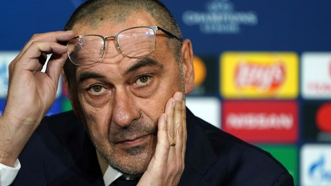 <p>               FILE - In this Tuesday, Feb. 25, 2020 filer, Juventus head coach Maurizio Sarri attends a press conference in Decines, near Lyon, central France. Cristiano Ronaldo and his Juventus teammates, combined with coach Maurizio Sarri, have agreed to forgo 90 million euros ($100 million) in wages if the Serie A season does not resume due to the virus outbreak, the club announced Saturday. (AP Photo/Laurent Cipriani, File)             </p>