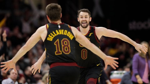 <p>               Cleveland Cavaliers' Kevin Love, right, and Matthew Dellavedova celebrate after Love made a three-point shot in overtime in an NBA basketball game against the San Antonio Spurs, Sunday, March 8, 2020, in Cleveland. The Cavaliers won 132-129 in overtime. (AP Photo/Tony Dejak)             </p>