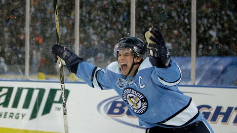 <p>               FILE - In this Jan. 1, 2008, file photo, Pittsburgh Penguins' Sidney Crosby celebrates his game winning shootout goal against the Buffalo Sabres during the NHL Winter Classic outdoor hockey game at Ralph Wilson Stadium in Orchard Park, N.Y. Hockey fans will have a chance to relive some of NBC's best NHL and Olympic games for the past 12 years next week during Hockey Week in America. (AP Photo/David Duprey, File)             </p>