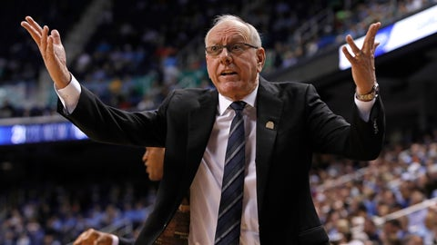 <p>               Syracuse head coach Jim Boeheim reacts during the first half of an NCAA college basketball game against North Carolina at the Atlantic Coast Conference tournament in Greensboro, N.C., Wednesday, March 11, 2020. (AP Photo/Ben McKeown)             </p>