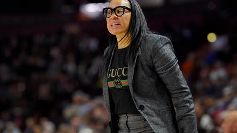 <p>               South Carolina head coach Dawn Staley reacts during a semifinal match against Arkansas at the Southeastern conference women's NCAA college basketball tournament in Greenville, S.C., Saturday, March 7, 2020. (AP Photo/Richard Shiro)             </p>