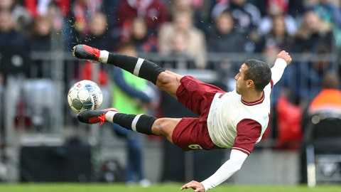 <p>               Bayern's Thiago kicks the ball during the German Bundesliga soccer match between FC Bayern Munich and FC Augsburg in Munich, Germany, Sunday, March 8, 2020. (AP Photo/Matthias Schrader)             </p>
