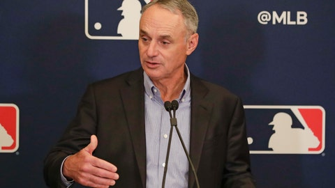 <p>               MLB Commissioner Rob Manfred answers questions at a press conference during MLB baseball owners meetings, Thursday, Feb. 6, 2020, in Orlando, Fla. (AP Photo/John Raoux)             </p>
