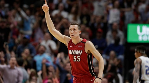 <p>               Miami Heat forward Duncan Robinson celebrates after scoring during the second half of the team's NBA basketball game against the Orlando Magic, Wednesday, March 4, 2020, in Miami. (AP Photo/Wilfredo Lee)             </p>